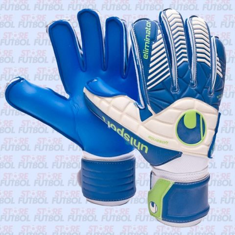Guantes de arquero Uhlsport Eliminator Aquasoft en azul y blanco